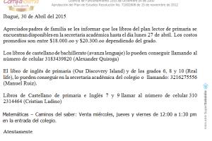 Información Libros Plan Lector