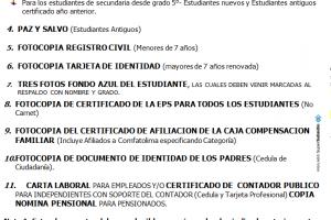 Circular Informativa Proceso de matricula